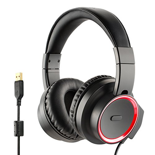 Redimp PC Gaming Headset with Mic, Virtual 7.1 Gaming Headset Comfortable PS4 Laptop iMac Computer USB Wired Gaming Headset with Microphone Red LED - Black