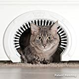 Cat Door for Interior Doors with Grooming Brush :: Large Pet Cat Pass for Adult Cats up to 20 Lbs :: Easy to Install Cat Door with Brush w Detailed Instructions Plus Screws & Screw Caps - White