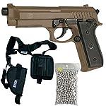 Pack complet Pistolet Culasse métal Taurus PT92 à Ressort/Spring/Rechargement Manuel (0.5 Joule)/ avec Accessoires 5