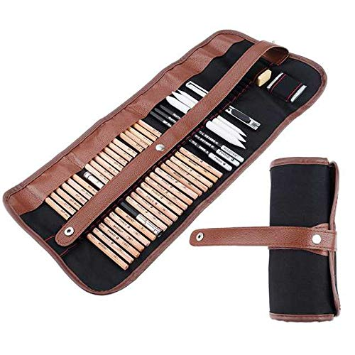 29piezas Profesional Dibujo y lápices de arte Kit de herramientas de dibujo con lápices de grafito, carbón vegetal, papel tinta borrable bolígrafo, cúter con bolsa de Rolling Lightwish