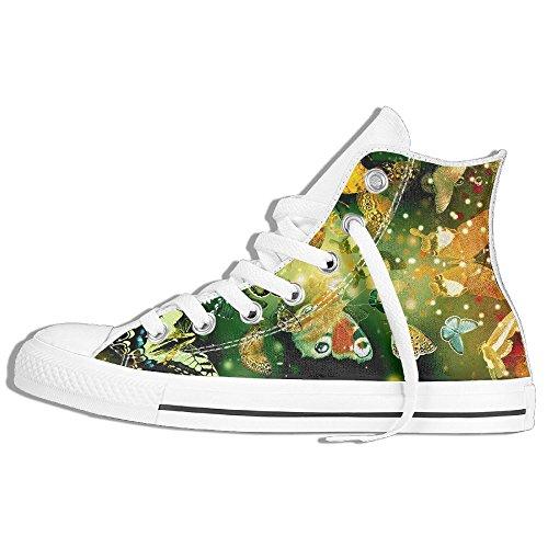 Classic High Top Sneakers Canvas Shoes Anti-Skid Beautiful Butterflies Casual Walking For Men Women White 67ZF7D