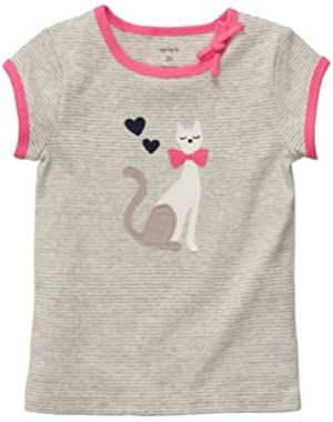 Girls' Short-sleeve Top Cat (Grey/pink) (3 Months)