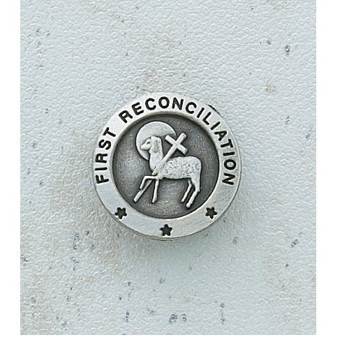 (First Reconciliation with Lamb and Cross 3/4-inch Pewter Lapel Pin)
