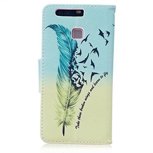 Funda para Huawei P9, Huawei P9Cover, ikasus oso mariposa flores Series–Funda de piel sintética plegable tipo cartera funda de piel con tapa con soporte Soportes de ID de tarjeta de crédito funda p Blue Feather Birds