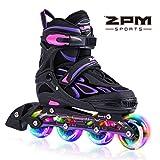 2pm Sports Vinal Girls Adjustable Flashing Inline Skates, All Wheels Light Up, Fun Illuminating Rollerblades for Kids and Ladies, Start Roller Skating Today!