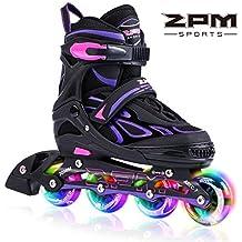 2PM SPORTS Vinal Girls Adjustable Inline Skates with Light up Wheels Beginner Rollerblades Fun Illuminating Roller Skates for Kids Boys and Ladies
