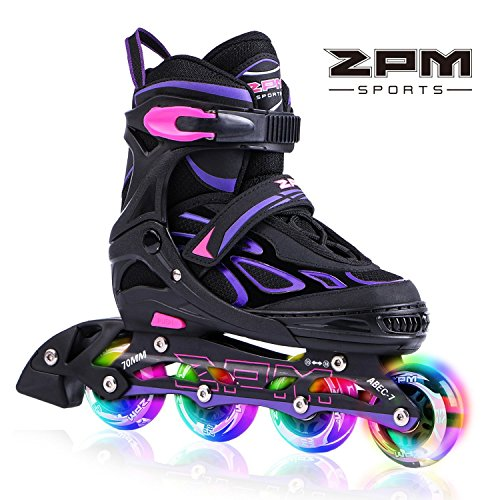 (2PM SPORTS Vinal Girls Adjustable Inline Skates with Light up Wheels Beginner Skates Fun Illuminating Roller Skates for Kids Boys and Ladies - Violet M)