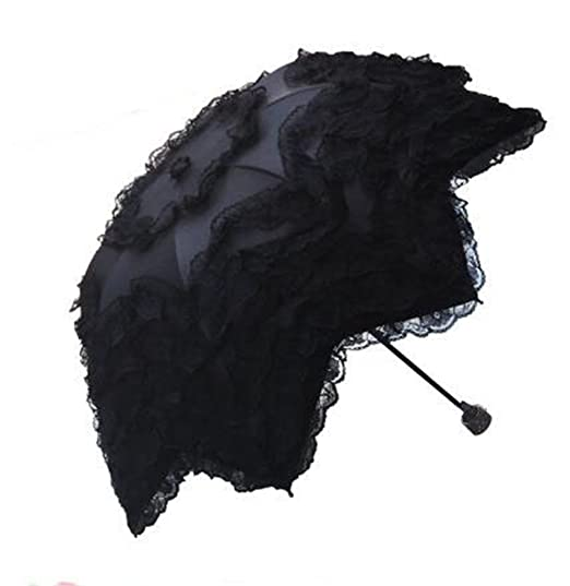 Vintage Style Parasols and Umbrellas Princess Double Lace Sun Protection Umbrellas Folding Uv Protected Parasol-Black $22.99 AT vintagedancer.com