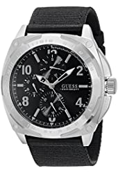 GUESS Men's U0680G1 Oversized Black Multi-Function Watch on a Canvas Strap