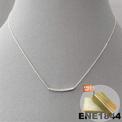 Elegant Unique Rhinestone Curved Thin Bar Silver Finish Dainty Chain Necklace + Gold Cotton Filled Gift Box for Free