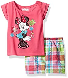 Disney Girls\' Minnie Mouse 2-Piece Short Set, Pink, 6X