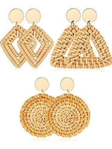 3 Pairs Geometric Rattan Earrings Woven Handmade Straw Earrings Wicker Braid Earrings Bohemian Statement Hoop Earrings Drop Dangle Earrings (Color 4)