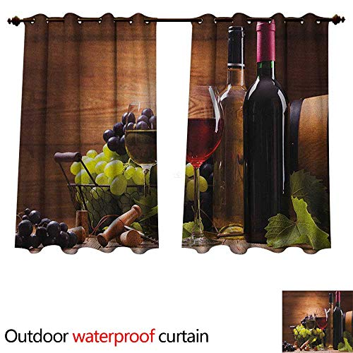 Wine Outdoor Balcony Privacy Curtain Glasses of Red and White Wine Served with Grapes French Gourmet Tasting W63 x L72(160cm x 183cm)