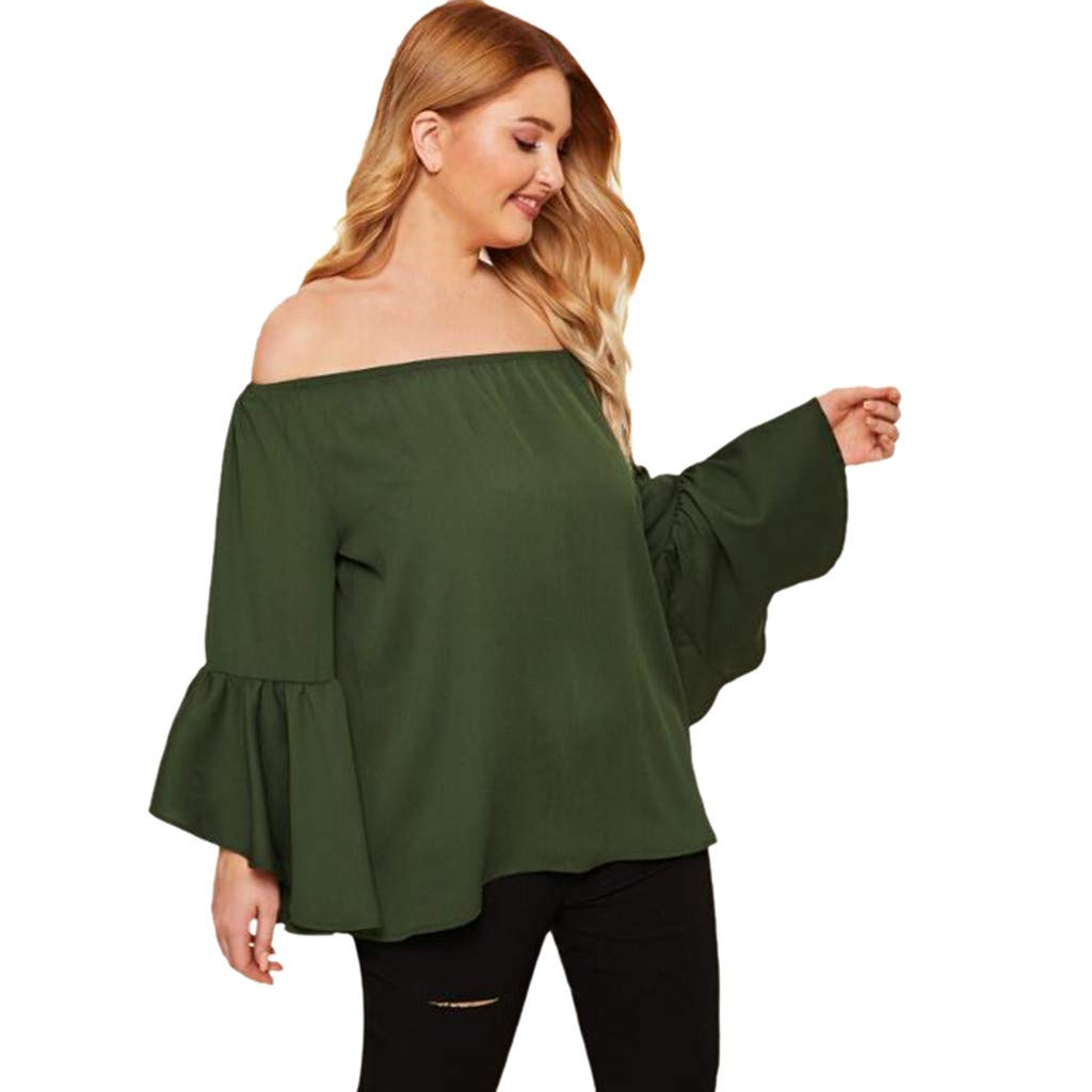 Kaniem Womens Plus Size Tops Summer Off The Shoulder Ruffled Long Sleeve T Shirts Blouses (XXXL, Green)