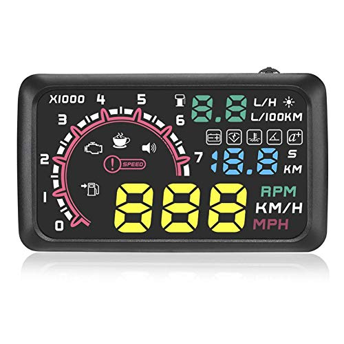 Assiduousic Head up Display for Car, 5.5Inch Plug Play Universal Digital Speedometer Car HUD Windshield Projector with Vehicle Speed, Engine Speed, KMH/MPH Overspeed Warning System