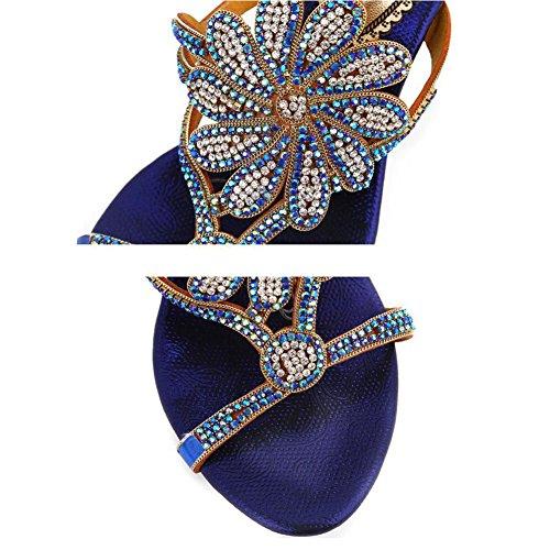 Blue Strass xie Femmes Dames Fleur Sandales Bouche Creux Diamant Été de Nouveau Poisson Diamant Mode Sandales qqtFZwaxR