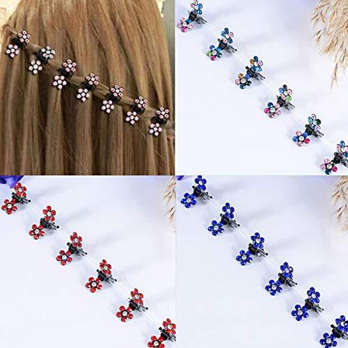 (Mini Hair Claw Clip Hair Clip,30 Pcs Crystal Rhinestone Mini Flower Hair Claw Clip Baby Toddler Girl Hair Bangs Pin Kids Hair Accessories)