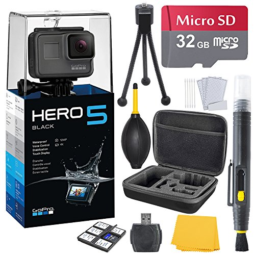 GoPro HERO 5 Black (7 items) + 32 GB Micro SD + Case + Accessory Bundle