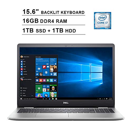 Dell Inspiron 5000 15.6 Inch FHD 1080P Touchscreen Laptop (Intel Core i7-1065G7 up to 3.9GHz, 16GB DDR4 RAM, 1TB SSD (Boot) + 1TB HDD, Intel UHD Graphics, Backlit KB, HDMI, WiFi, Bluetooth, Win10)