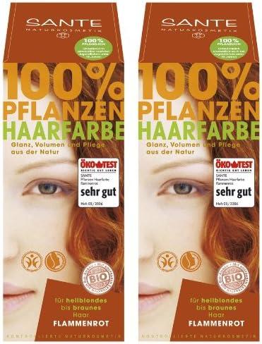 Tinte vegetal Sante, color para el cabello en pack doble, rojo fuego, 2 x 100 g, para una experiencia de color genial
