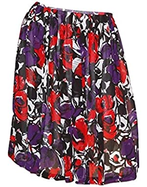 Poly Blend Pleated Lined Floral Skirt Rouge/Multi 12