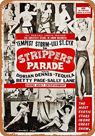 ACOVE 1956 Strippers Parade Vintage Look Metal Tin Sign - 10x14 - Metal Stripper
