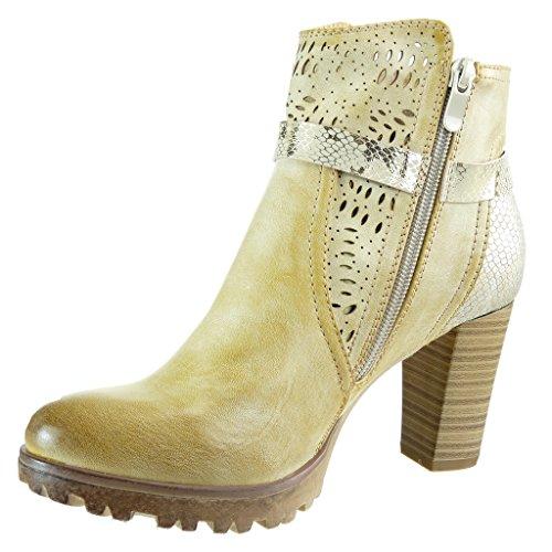 Angkorly damen Schuhe Stiefeletten - Reitstiefel - Kavalier - bi-Material - Schlangenhaut - Knoten - camouflage Blockabsatz high heel 8 CM Camel