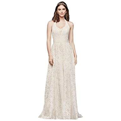 David\'s Bridal Plunging Lace Halter Ball Gown Wedding Dress Style ...
