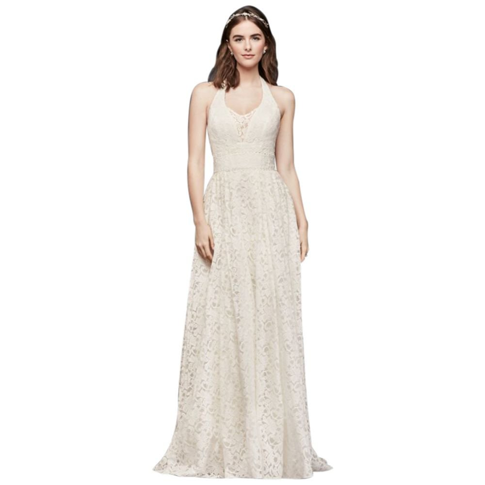Plunging Lace Halter Ball Gown Wedding Dress Style Wg3844 At Amazon