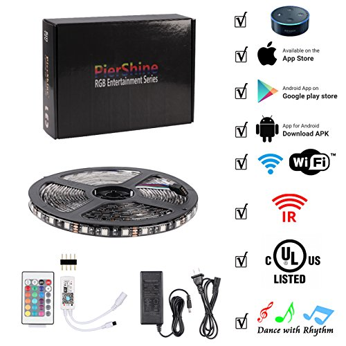 PierShine 16.4ft 5m 300leds Smart Home Alexa Supported WIFI Wireless RGB LED Strip Lights with UL Listed adapter, 24 keys remote control, Compatible on Android and IOS with Alexa (black roll)