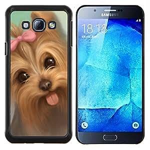 Lengua Yorkshire Terrier Puppy Dog Pink Bow- Metal de aluminio y de plástico duro Caja del teléfono - Negro - Samsung Galaxy A8 / SM-A800