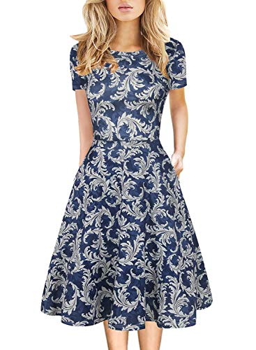 Summer Spring Autumn Dress for Womens Floral Fit Flare Elegant Cocktail Wedding Party Tea Midi Knee Length Flower Clothes 162 (Blue-White, XL)