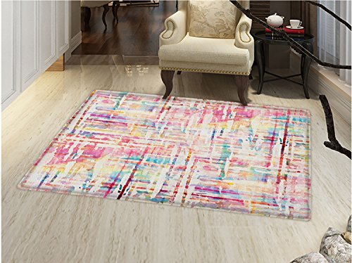 smallbeefly Watercolor Door Mats for home Cool Abstract Scattered Colors in Expressionist Manners Modern Painting Art Bath Mat Bathroom Mat with Non Slip Multicolor