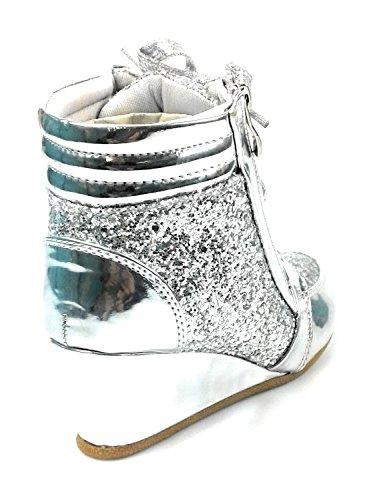 Link Lace Up Rock Glitter Moda Sneaker Tacco Nascosto Per Bambini / Ragazza / Bambini Argento Peggy44k