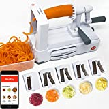 #9: Spiralizer 5-Blade - Best in Class Vegetable Slicer with Catch & Store Container and stainless steel blades - Strongest-and-Heavy Duty base and suction cup - free ios app with recipes and videos