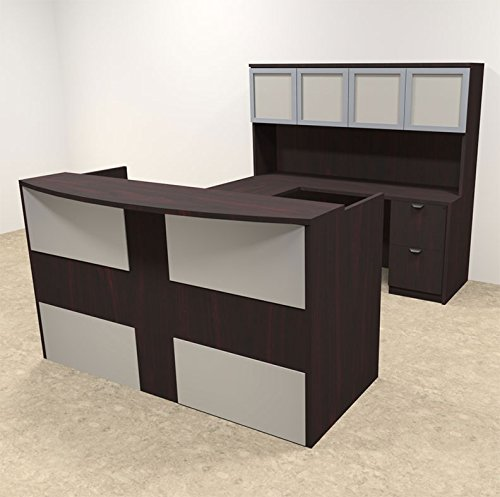 5pc U Shaped Modern Acrylic Panel Office Reception Desk, #OT-SUL-R19 by UTM