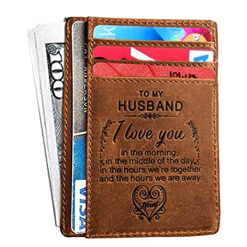 Mini Engraved Card Holder Handmade Anniversary Gift for Husband,boyfriend from Wife,Girlfriend