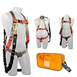 Madaco Roof Construction Fall Protection Full Body Industrial Safety Harness Internal Shock Absorbing 6FT Lanyard Kit Size M-XXL ANSI OSHA Combo A Orange