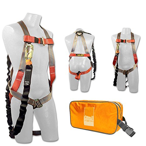 Madaco Roof Construction Fall Protection Full Body Industrial Safety Harness Internal Shock Absorbing 6FT Lanyard Kit Size M-XXL ANSI OSHA Combo A Orange by Madaco Safety Products