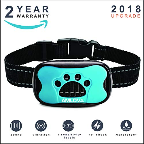 AMLOV Humanely Dog Bark Collar Upgrade 2018 Vibration No Shock Stop Barking Small Medium Large Dogs Training Waterproof Beeping Deterrent Device New Version Stops Sound Harmless Pet Corrector