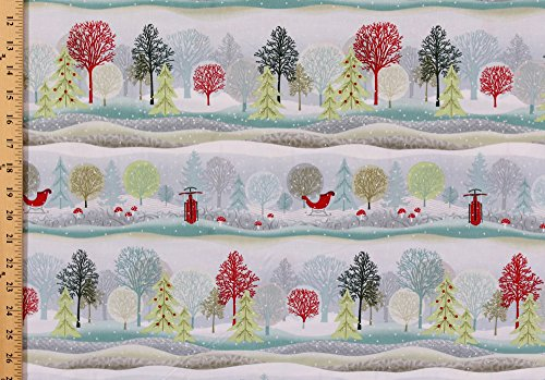 Stripe Repeating - Cotton Christmas Trees Sleigh Ride Sleds Snow Snowing Snowflakes Mushrooms Toadstools Winter Scenery Evergreens Scenic Repeating Stripe (4 Parallel Stripes) Holiday Cheer Christmas Cotton Fabric Print by the Yard (9684-9)
