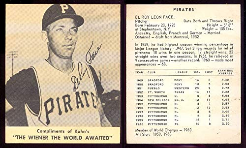 1961 Kahns Weiners Regular (Baseball) card#11 Elroy Face of the Pittsburgh Pirates Grade Very Good