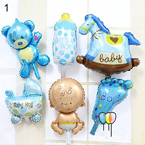 (bromrefulgenc Party Balloon,Child Party Decor,6 Pcs/Set Angel Baby Shower Foil Balloons Kid Boy Girl Birthday Party Decoration Blue Pack of 6)