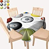 UHOO2018 Polyester Fabric Tablecloth Square/Rectangle Diversified Sports Balls Objects in Diamd or Circle