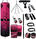RDX Women Punch Bag Filled Kickboxing MMA Training Gloves Ladies Muay Thai 13PC Punching Mitts Hanging Chain Ceiling Hook Martial Arts 4FT