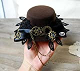 Vintage Lace Big Bow Lolita Cosplay Mini Top Hat with Gears for Men Women Steampunk Party Hair Accessories Kangsanli