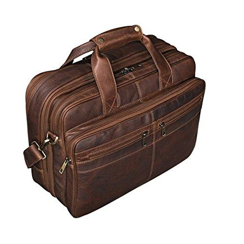STILORD Alexander Lehrertasche Herren Leder braun Aktentasche Laptoptasche Bürotasche Businesstasche Vintage groß XXL Umhängetasche mit Dreifachtrenner, Farbe:sattel-braun cognac - dunkelbraun