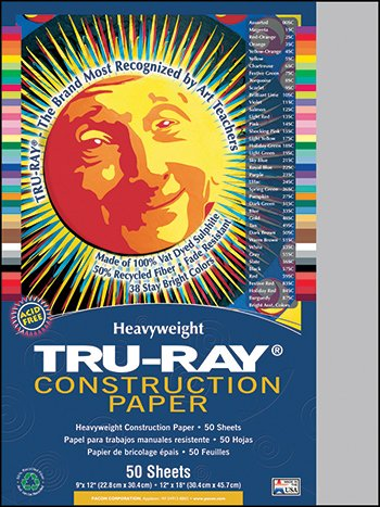 Pacon 103027 - Tru-Ray Construction Paper, 76 lbs., 9 x 12, Gray, 50 Sheets/Pack-PAC103027