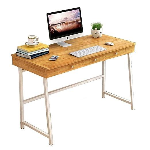 ZR- Mesa de Escritorio de bambú Multifuncional con 3 cajones ...