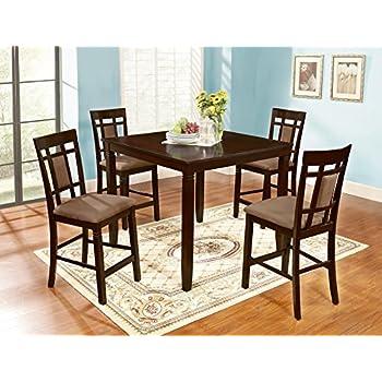Roundhill Furniture Inworld 5 Piece Counter Height Dining Set, Dark Cherry
